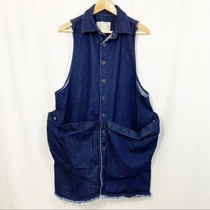 STATE THE LABEL Smocked Denim Button Down Dress
